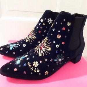 Betsey Johnson Jax jeweled velvet ankle boots 7.5M